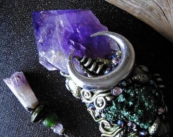 OTHERWORLD MAGIC Amethyst Quartz Crystal Magic Wand Horn Altarpiece Malachite Chrysocolla Pagan Wiccan Magick Witch Witchcraft Art