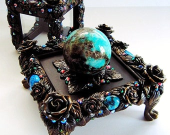 CALLING THE SPIRITS Crystal Ball Display Case Stand Black Tourmaline Amazonite Altarpiece Pagan Wiccan Magick Witch Witchcraft Art