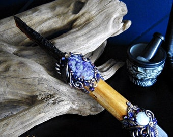 ROYAL GUARDIAN Athame Ritual Ornamental Knife Amber Glass Knapped Blade Charoite Amethyst Pagan Wiccan Witch Witchcraft Altar Art Dagger