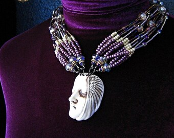 APHRODITE Porcelain Ceramic Face Wing Cameo Pendant Statement Necklace Greek Goddess Collection
