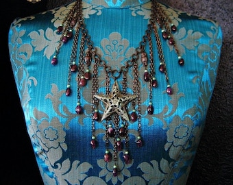 SPIRIT of THE NIGHT Amethyst Star Pendant Owl Charm Crystal Bib Statement Charm Necklace Earrings Set Boho Witchy Talisman Jewelry