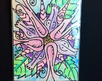 Original Flower Watercolor and Ink ACEO