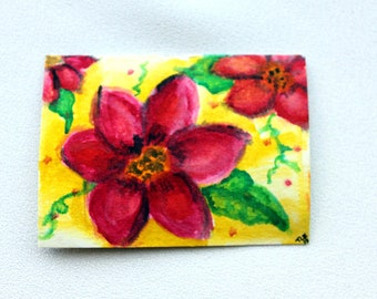Pink Flower Original ACEO Watercolor Painting