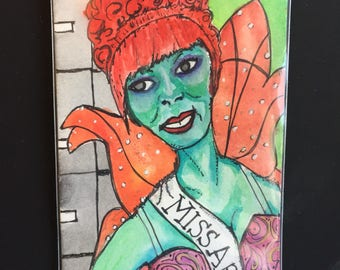 "ACEO Original Watercolor ""Miss Argentina"""