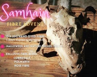 Halloween fibre advent calendar U.K. samhain wicca hand dyed roving