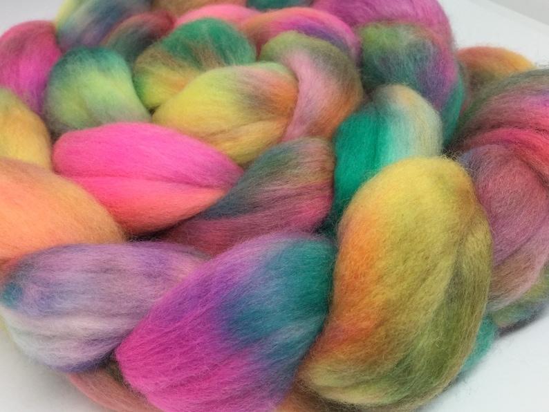 UK 97g hand dyed merino fibre combed tops roving