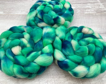 100g Andes hand dyed fibre combed tops. UK