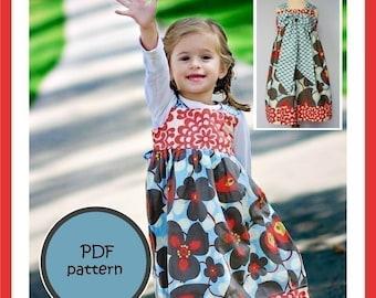 Kissing Kumquats Reverse Knot Dress PDF Sewing Pattern Size 6mo - 4T