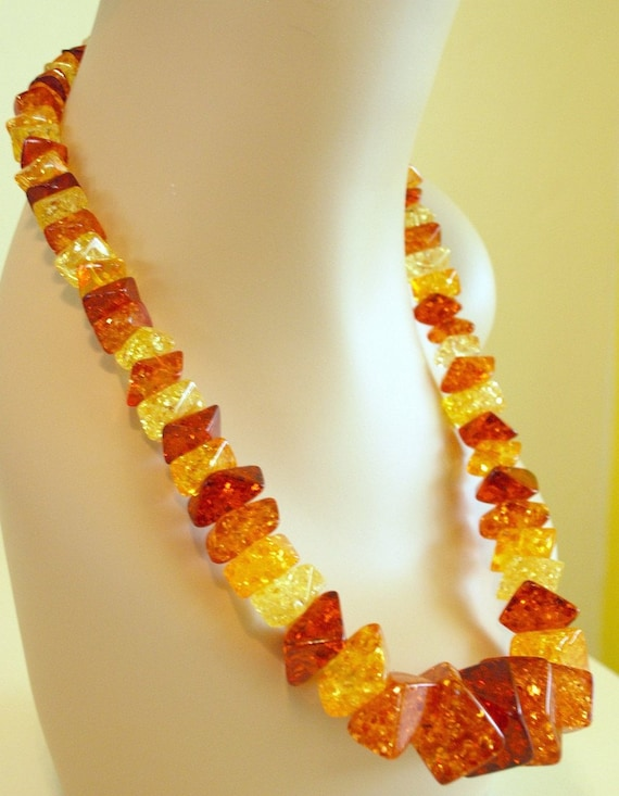 Vintage 60's glitter resin gold yellow and amber l