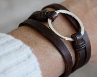 Leather Bracelet/ Eternity Symbol Bracelet/Sterling Silver Hammered Circle/Leather Wrap Bracelet/IseaDesigns