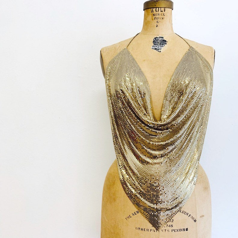Gold Metal Mesh Halter Top / 70s Halter Top / Whiting and image 0