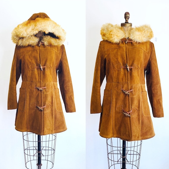 Vintage Shearling Coat / 1970s Suede Duffle Coat /