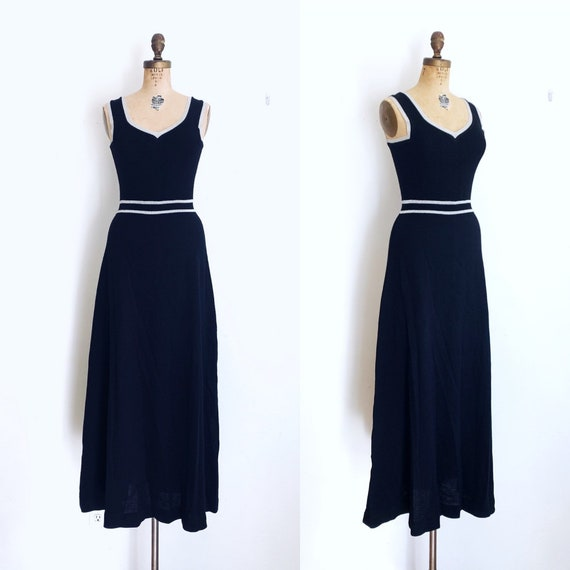 Vintage Roncelli Dress / 1970s Knit Maxi Dress / 7