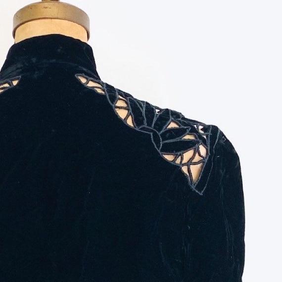 Noir Black Velvet Suit / Vintage Peplum Skirt Sui… - image 4