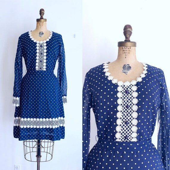 Vintage Swiss Dot Dress / 70s Blue and White Daisy