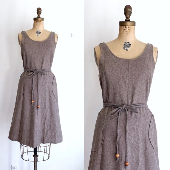 Vintage Wrap Dress / 70s Brown Pinafore Dress / 19