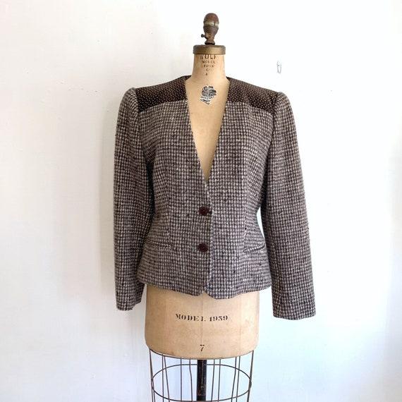 Vintage Velvet Tweed Jacket / 80s Tweed Blazer / L
