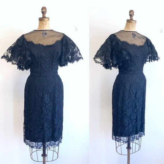 1960s Black Lace Dress / Black Lace Wiggle Dress /