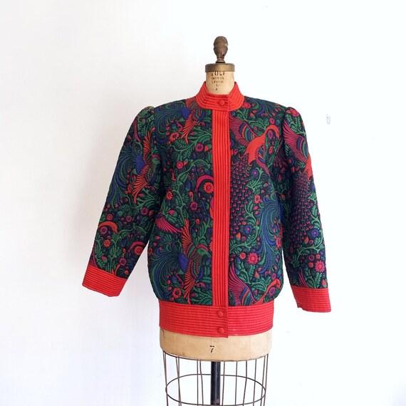 Vintage Trapunto Silk Jacket / Quilted Silk Jacket
