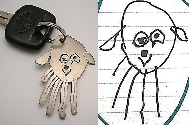 Your child's drawing on key chain for DAD durable image 0
