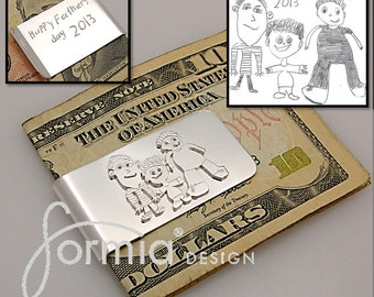 Your kids art on a silver money clip, personalized money clip, your childs drawing on money clip, money clip for dad, designed moneyclip