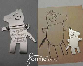 Your childs drawing handmade into a silver brooch, silver pin with drawing, design your own brooch, kids art brooch, drawing on brooch pin