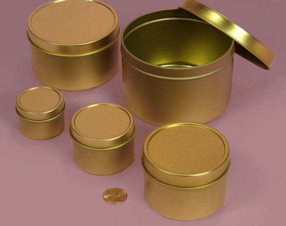 Customizable Soy Candles in Gold Tins - Pick a Scent and size