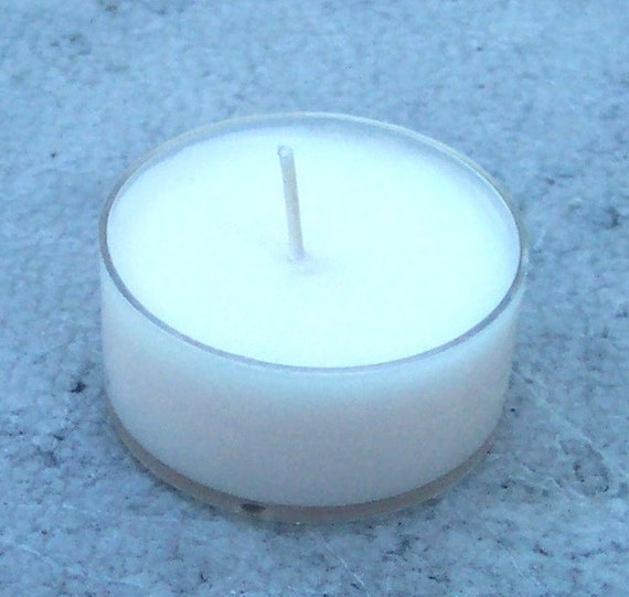 Three Pale Pink Plumeria Scented Soy Tea Light Candles