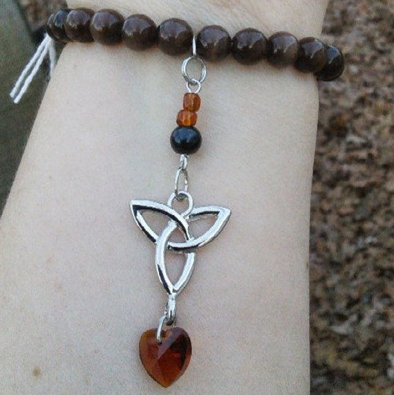 Brown Beaded Stretchy Bracelet with Celtic Triquetra Charm and Swarovski Crystal Heart