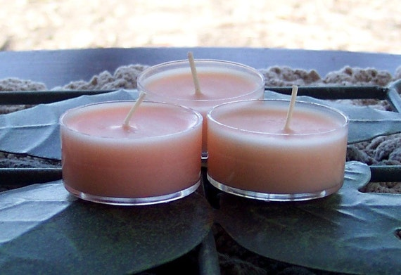 Three Pale Peach Colored Love Spell Scented Tea Light Soy Candles