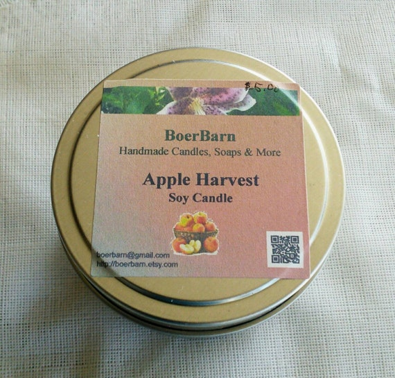 Apple Harvest Scented Soy Candle Tins - Choose from 2, 4, 6 or 8 oz