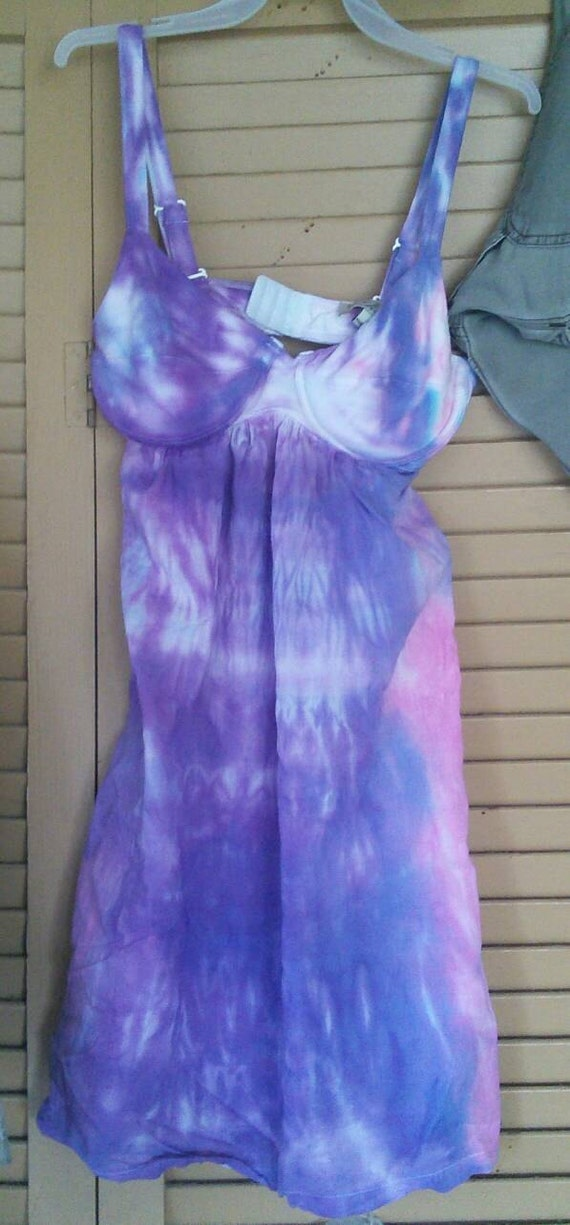 Purple and Pink Shibori Tie-Dye Womens Tank Mini Dress - Size S
