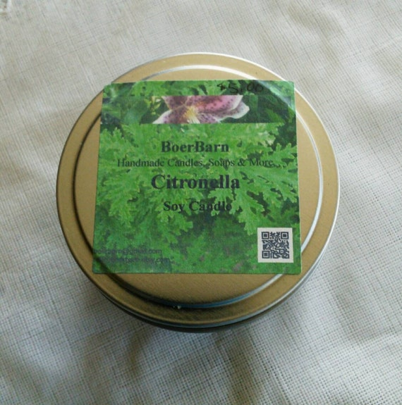 Citronella Scented Soy Candle Tins - Choose from 2, 4, 6 or 8 oz