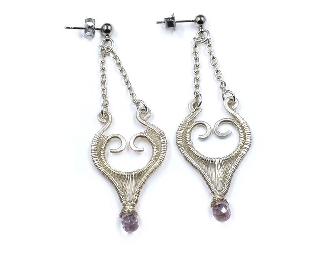 Rose Quartz and fine silver earrings