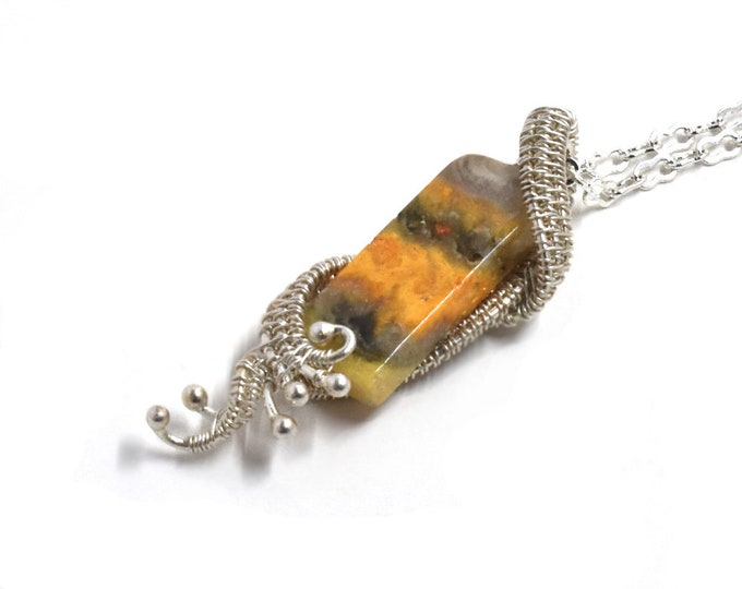 Giselle.  Bumblebee Jasper and fine silver necklace
