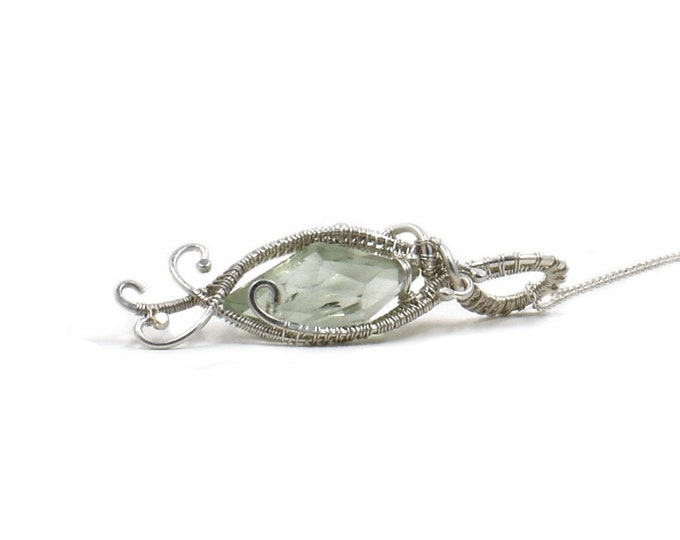 Kaia.  Green Amethyst and fine silver necklace