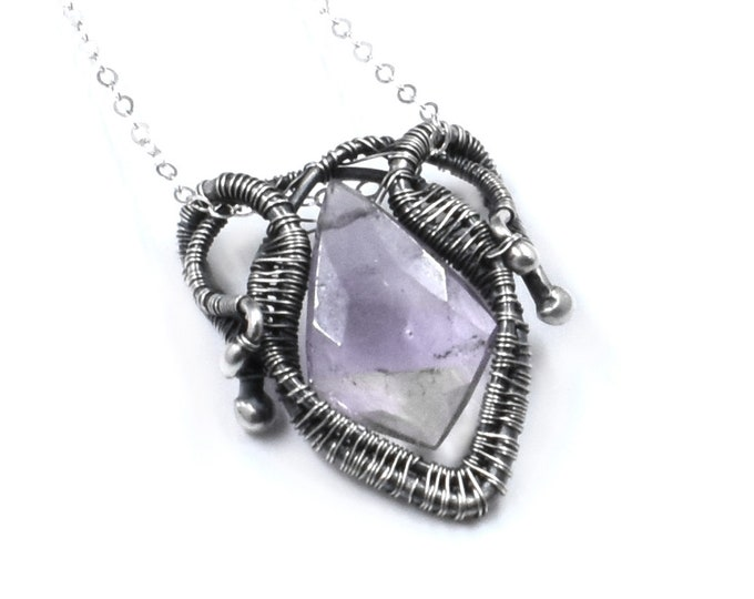 Mina.  Ametrine and fine silver necklace