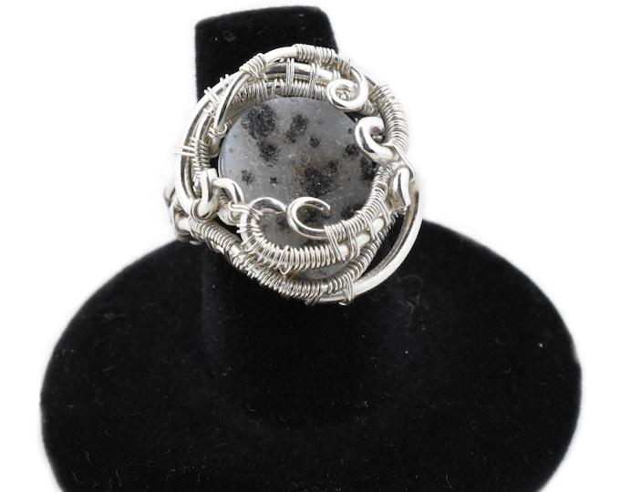 Druzy wire wrap ring