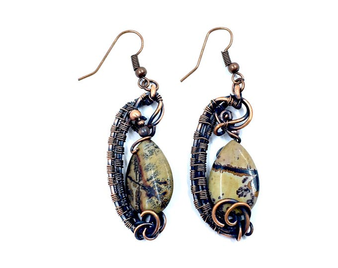 Painted jasper earrings