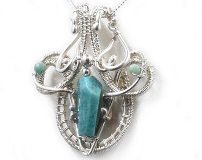 Diana.  Amazonite and fine silver necklace