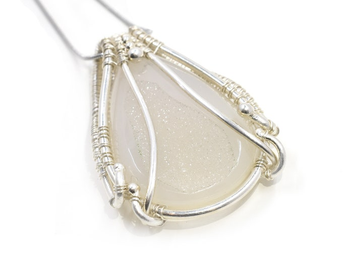 Druzy Chalcedony woven in fine silver wire