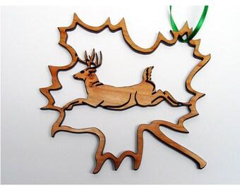 Fretwork Deer Maple Leaf 3 Ornament