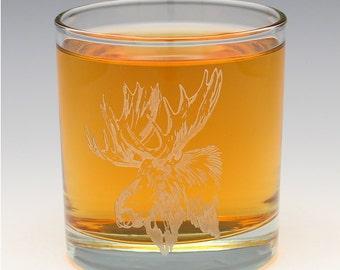 Engraved Moose Whiskey OTR Glass.