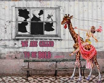 Digital Art Print, Art Print, Collage Print, Vintage Image, Collage Art, Giraffe