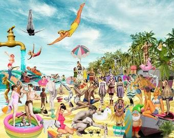 Art Print, Beach, beach Art, Collage Art, Digital Art, Fun, Funny, Funny Art,  16x20 OR 24X30, Gift
