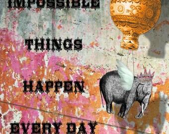 Art Print, Elephant, Elephant Art, Inspirational, Motivational, Encouragement, Inspirational Art, Collage Art, Digital Art, Gift