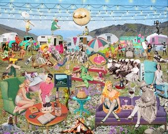 Art Print, Camping, Camping Art, Fun Art, Funny Glamping, Digital Art, Collage Art,  16x20 or 24x30, Gift