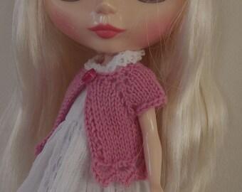 BLYTHE CARDIGAN/BOLERO, Blythe outfit, Blythe clothes, Blythe knitted top/Blythe pink top