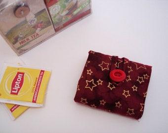 Tea Wallet Red Tea Holder Tea Bag Holder Travel Tea Wallet Organizer Foldable Tea Wallet Tea Keeper Tea Accessory Great Tea Gift Herbal Tea