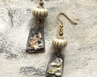 Dove gray dangles upcycled artist palette in winter colors
